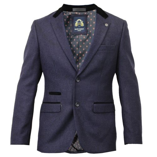 Mens Blazer Marc Darcy Coat  Smart Casual Formal Suit Jacket Patches Herringbone Blue Purpel